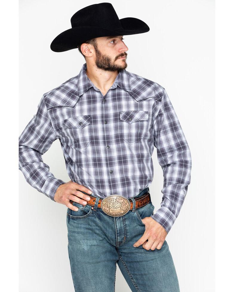 Moonshine Spirit Men's Garage Band Plaid Long Sleeve Western Shirt, Grey, hi-res