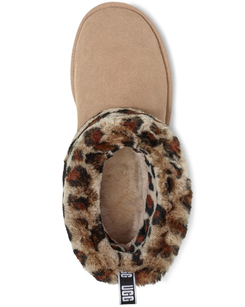 UGG Women's Fluff Mini Quilted Leopard Boots - Round Toe, Tan, hi-res
