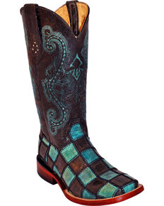 Ferrini Women's Patchwork Western Boots, Black, hi-res