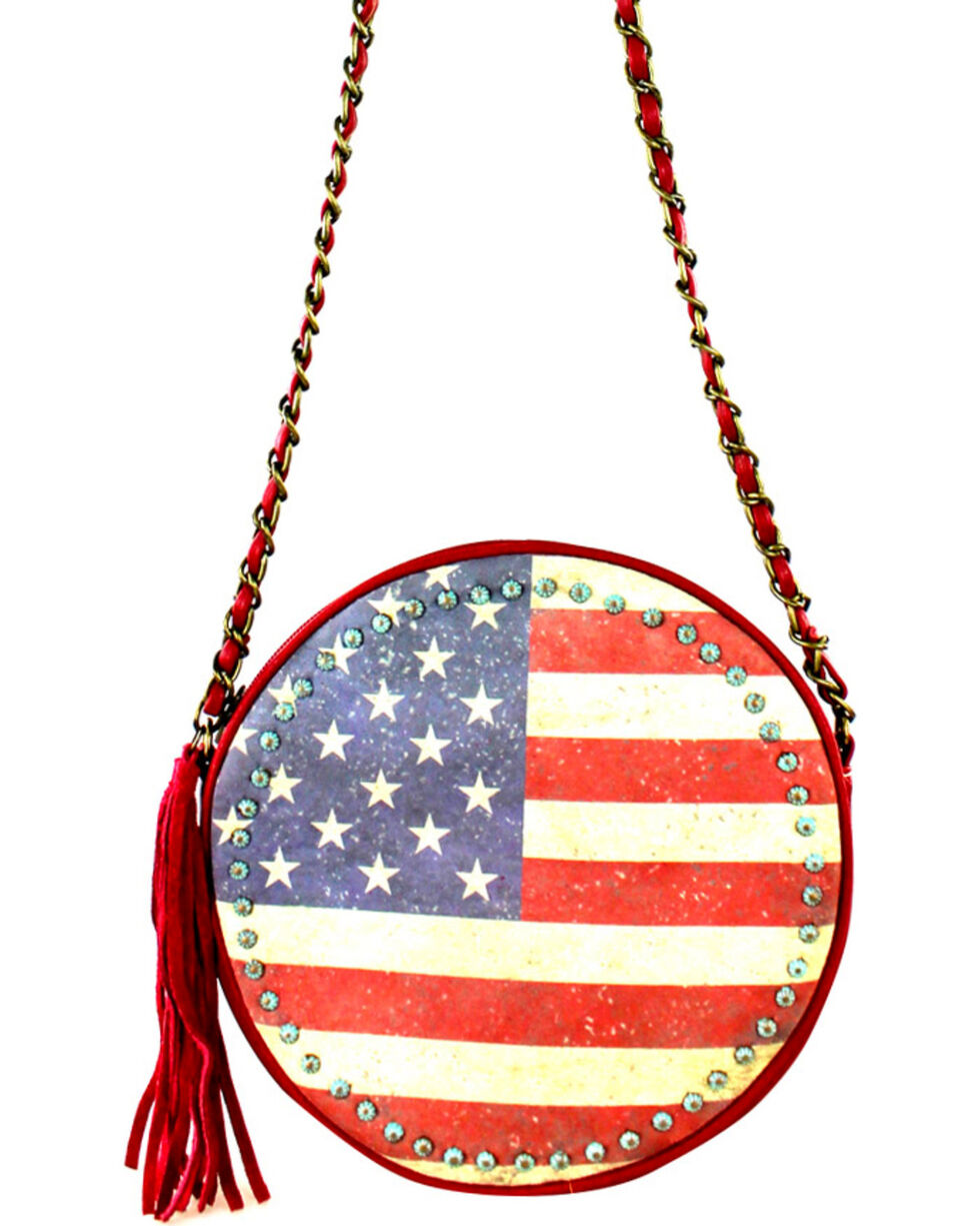 Montana West American Pride Round Shaped Shoulder Bag, Red, hi-res