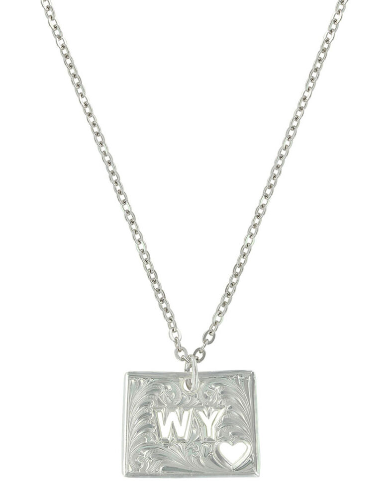 Montana Silversmiths Women's Wyoming Is Where My Heart Is State Necklace, Silver, hi-res