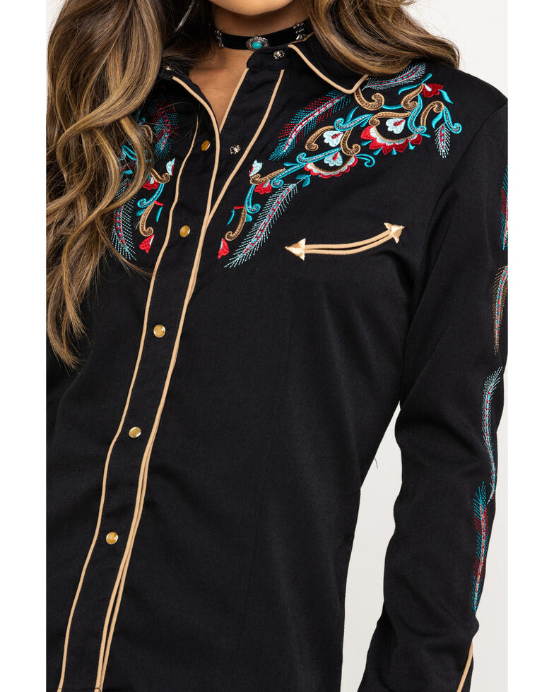 Scully Women's Multi-Color Embroidered Rodeo Long Sleeve Western Shirt , Black, hi-res