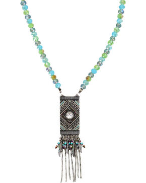 Shyanne® Women's Turquoise Glittering Beaded Necklace , Silver, hi-res