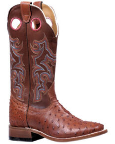 Boulet Women's Ostrich Western Boots - Wide Square Toe, Tan, hi-res