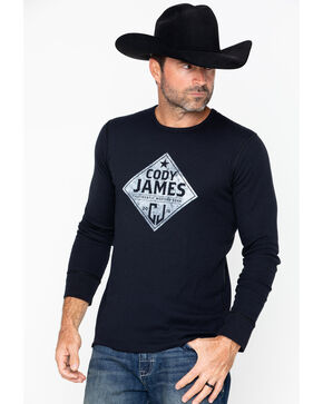 Cody James Men's Diamond Badge Long Sleeve Thermal Shirt, Black, hi-res