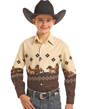 Panhandle Boys' Scenic Border Print Long Sleeve Western Snap Shirt, Ivory, hi-res