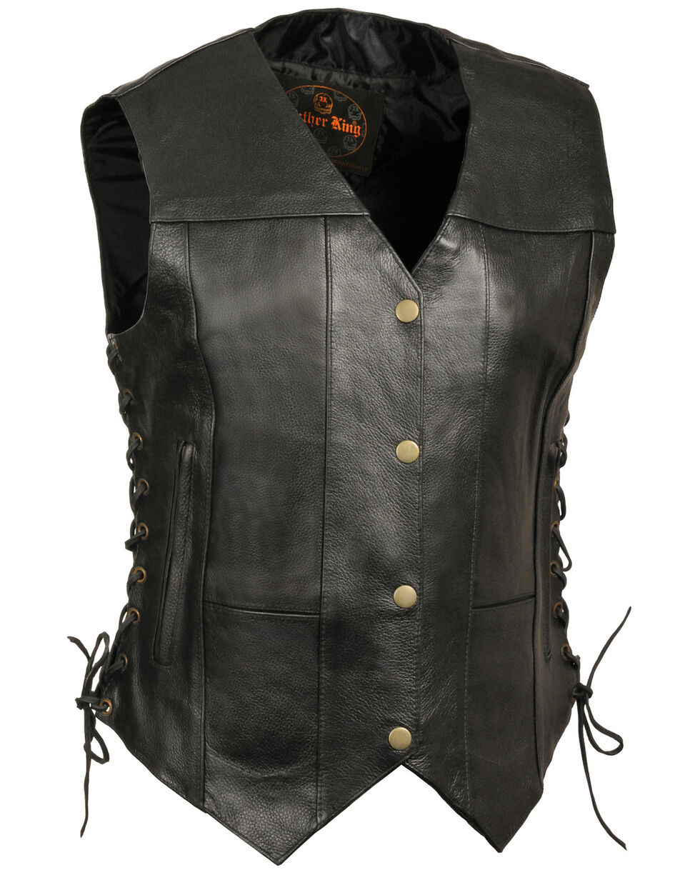 Milwaukee Leather Women's 6 Pocket Side Lace Vest - 4X, Black, hi-res