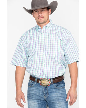 George Strait by Wrangler Men's Purple & Green Small Plaid Short Sleeve Western Shirt, Purple, hi-res