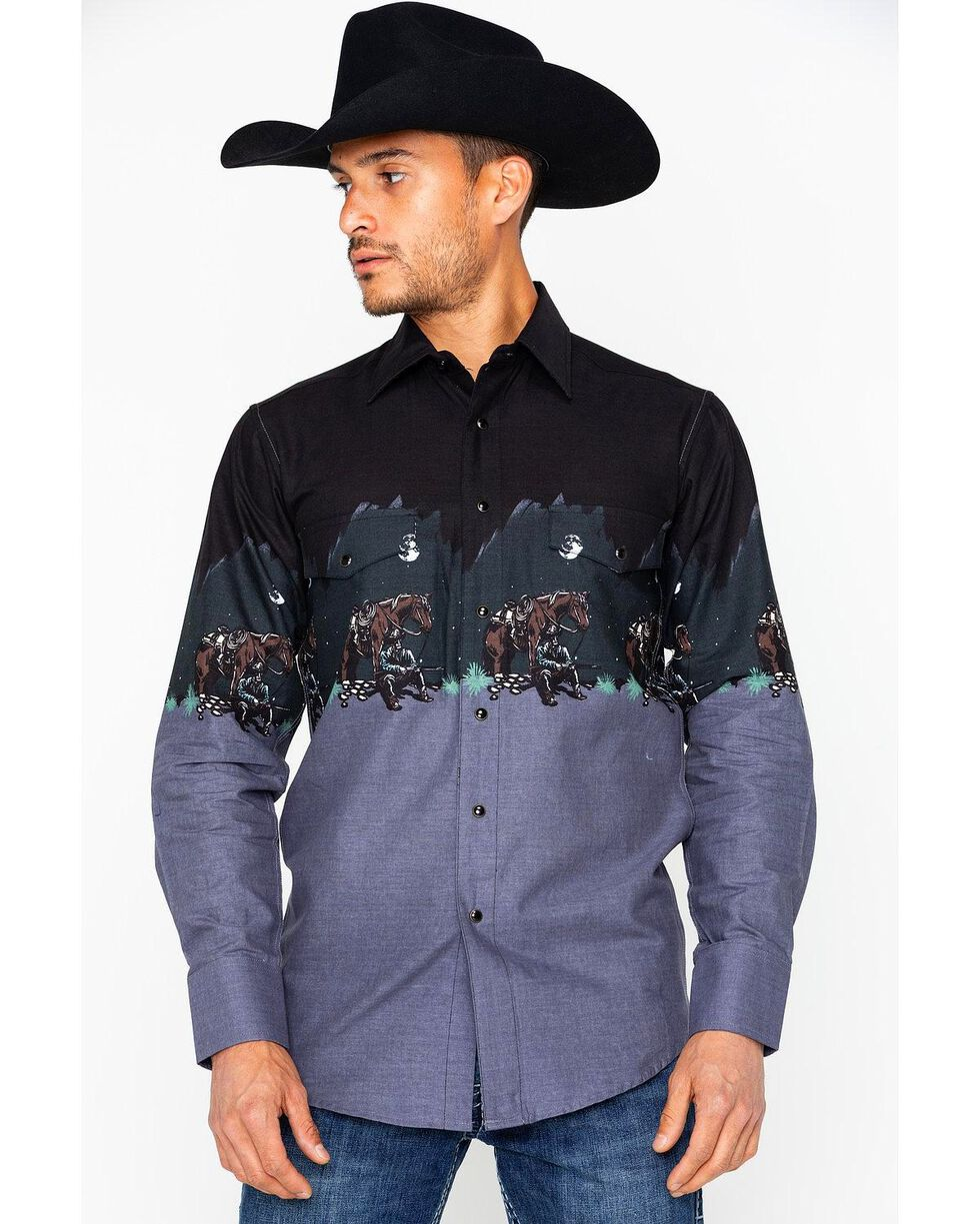 Panhandle Men's Charcoal Cowboy Long Sleeve Shirt, Charcoal, hi-res
