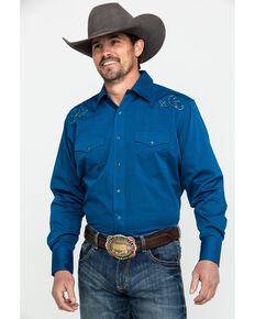 Wrangler Men's Blue Silver Edition Solid Long Sleeve Western Shirt , Blue, hi-res