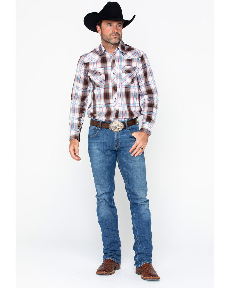 Ely Cattleman Men's 1878 Young Plaid Long Sleeve Western Shirt , Brown, hi-res