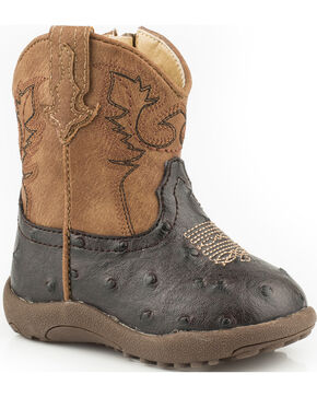 Roper Infant's Cowboy Cool Faux Ostrich Western Boots, Brown, hi-res