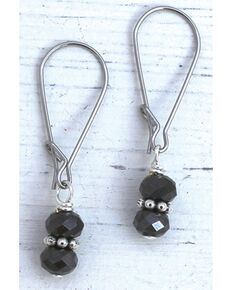 InspireDesigns Women's Black Crystal Droplets Earrings , Black, hi-res