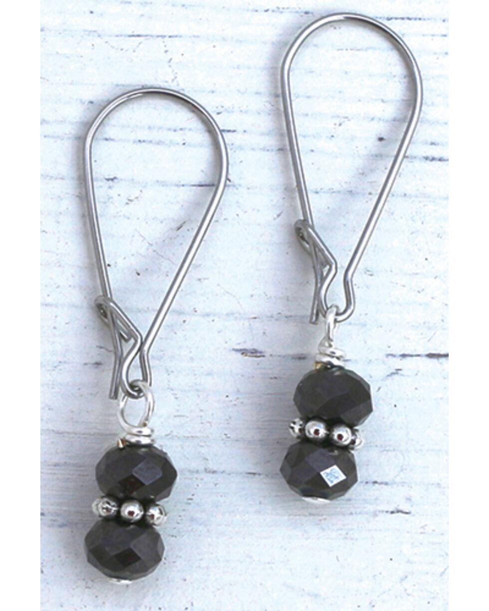 InspireDesigns Women's Black Crystal Droplets Earrings , Black, hi-res