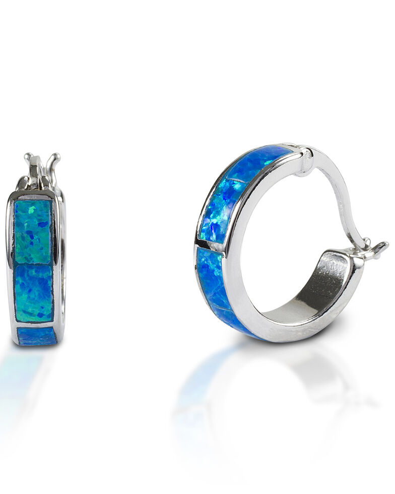 Kelly Herd Women's Blue Opal Hoop Earrings , Silver, hi-res