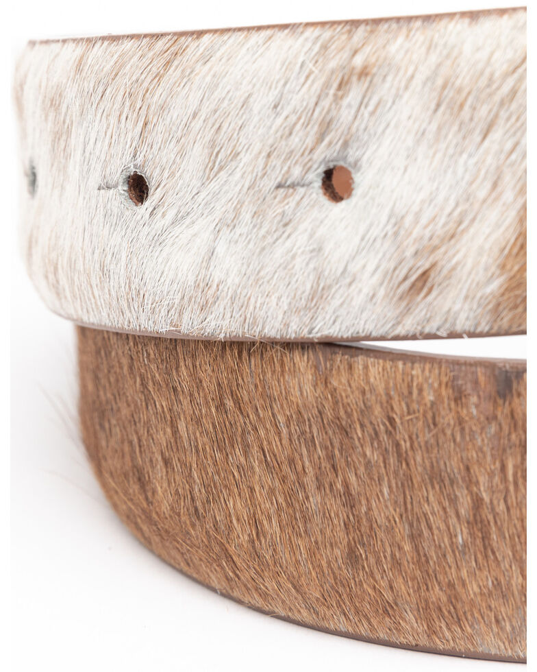 Shyanne Women's Brown Hair On Feather Western Buckle Belt, Brown, hi-res