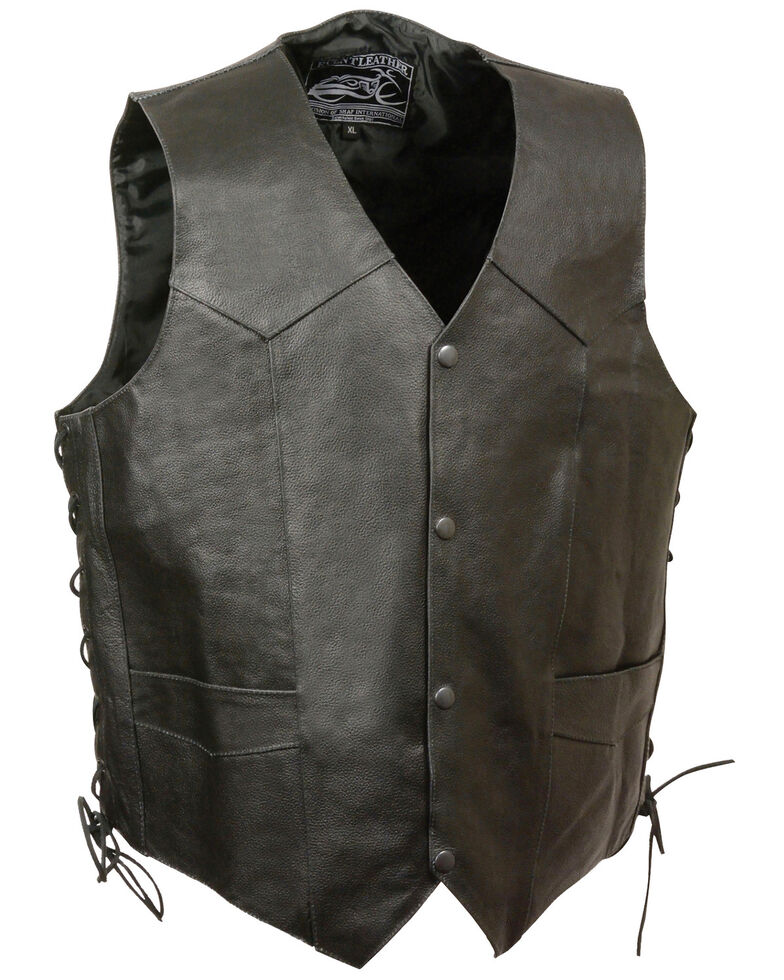 Milwaukee Leather Men's Side Lace Live To Ride Vest , Black, hi-res