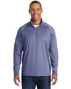 Sport Tek Men's True Navy Heather 3XSport Wick Stretch 1/2 Zip Pullover Work Sweatshirt - Big, Navy, hi-res
