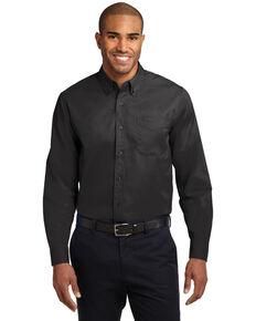 Port Authority Men's Solid Wrinkle Free Long Sleeve Work Shirt , Black, hi-res