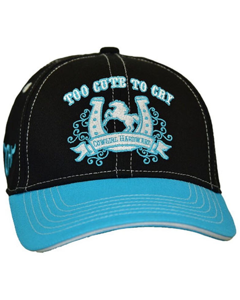Cowgirl Hardware Girls' Too Cute To Cry Embroidered Ball Cap, Pink, hi-res