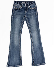 Grace in LA Girls' Medium Starburst Bootcut Jeans, Blue, hi-res