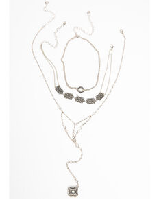 Shyanne Women's Moonlit Webbed Choker Necklace, Silver, hi-res