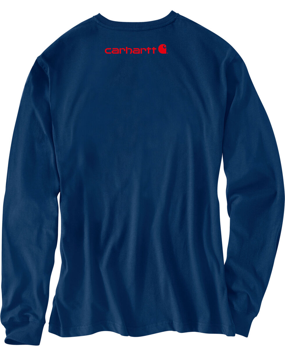 Carhartt Men's Navy Signature Graphic Logo T-Shirt, Navy, hi-res