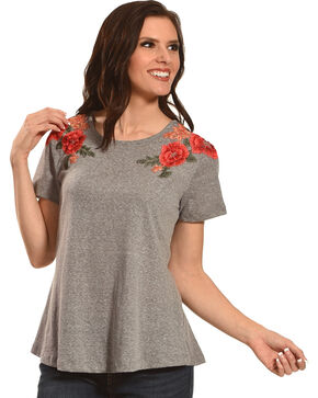 New Direction Sport Women's Grey Rose Embroidered Tee , Grey, hi-res