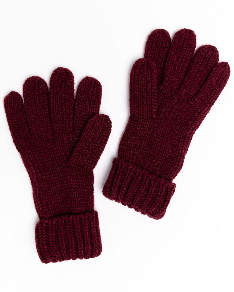 Shyanne Women's Wine Chunky Knit Gloves, Wine, hi-res