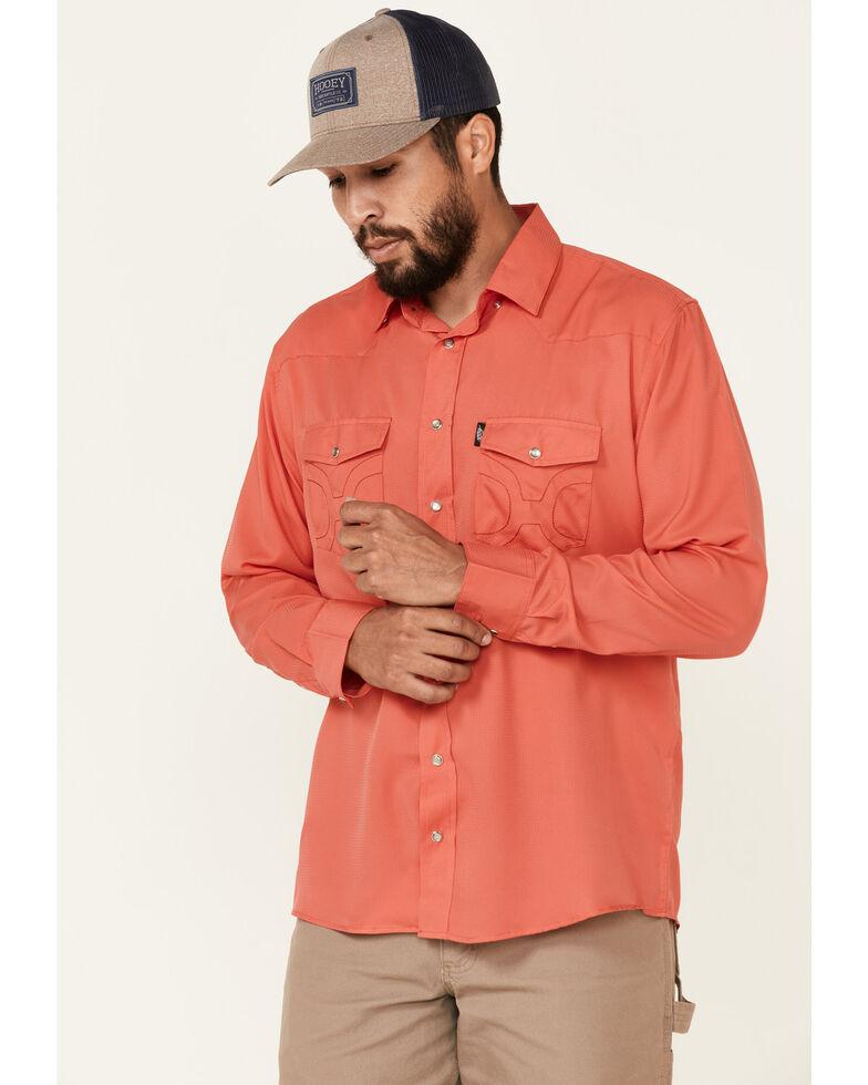 HOOey Men's Solid Watermelon Habitat Sol Long Sleeve Snap Western Shirt , Pink, hi-res