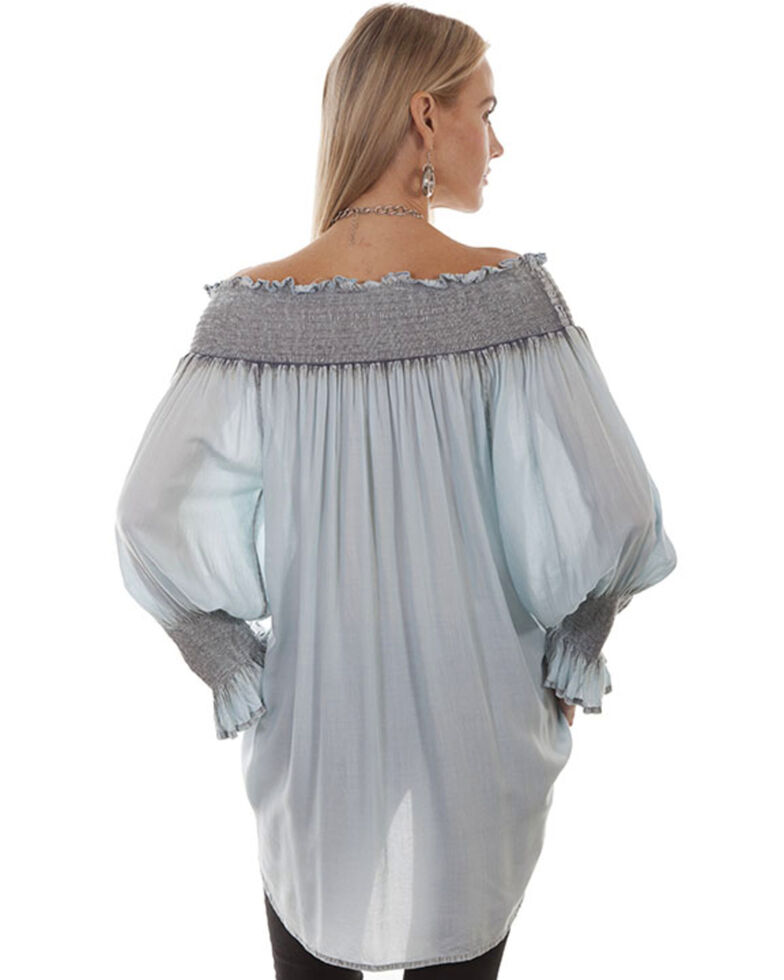 Honey Creek by Scully Women's Blue Off The Shoulder Long Sleeve Smocked Top, Blue, hi-res
