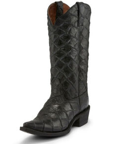 Nocona Women's Bessie Fish Print Western Boots - Snip Toe, Black, hi-res