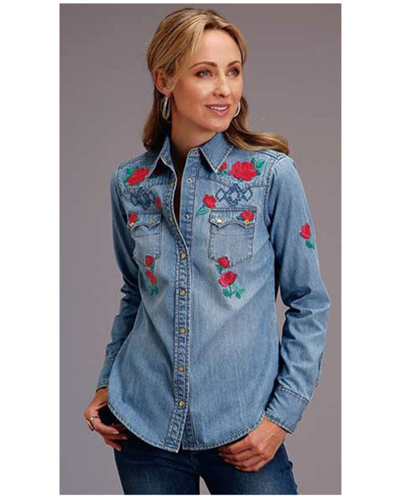 Stetson Women's Dark Denim Embroidered Long Sleeve Snap Western Shirt , Blue, hi-res