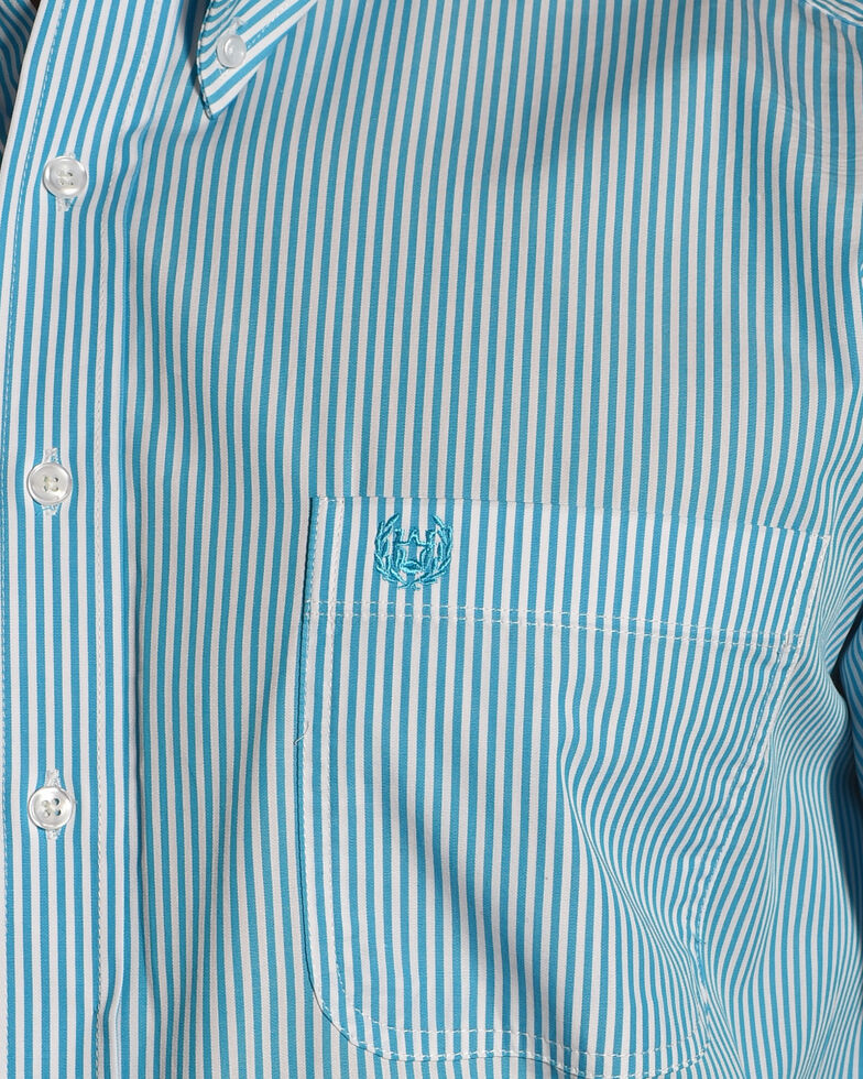 Rough Stock by Panhandle Men's Alford Classic Sport Stripe Shirt , Turquoise, hi-res