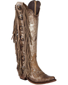 Liberty Black Women's Buffed Metal Concho Fringe Boots, Steel, hi-res