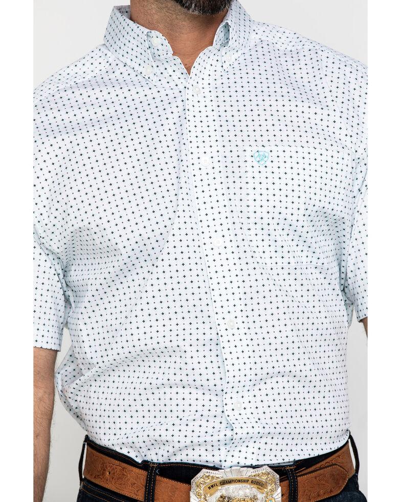 Ariat Men's Kellton Stretch Geo Print Short Sleeve Western Shirt - Tall , White, hi-res