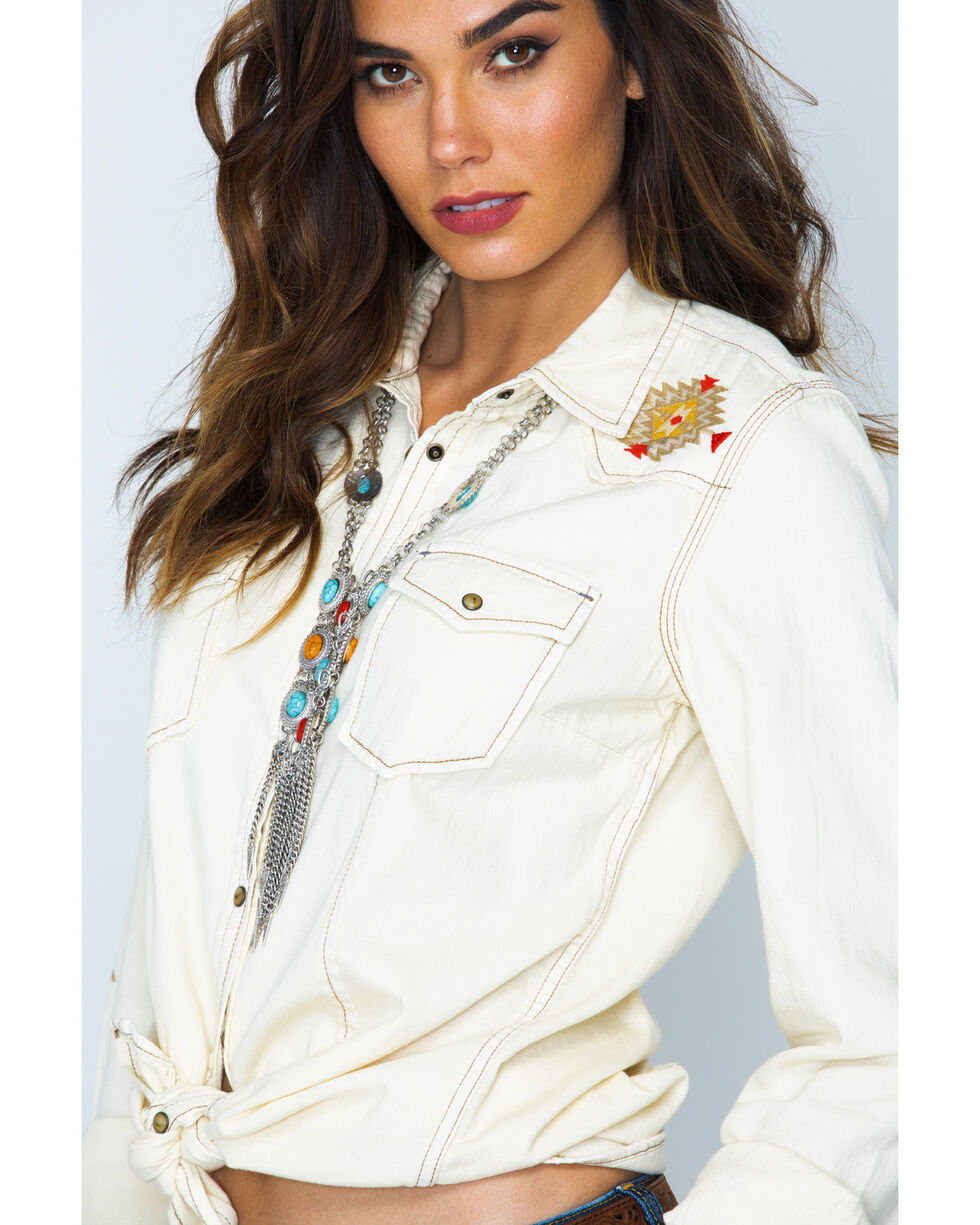 Ryan Michael Women's Sand Washed Embroidered Shirt , Sand, hi-res