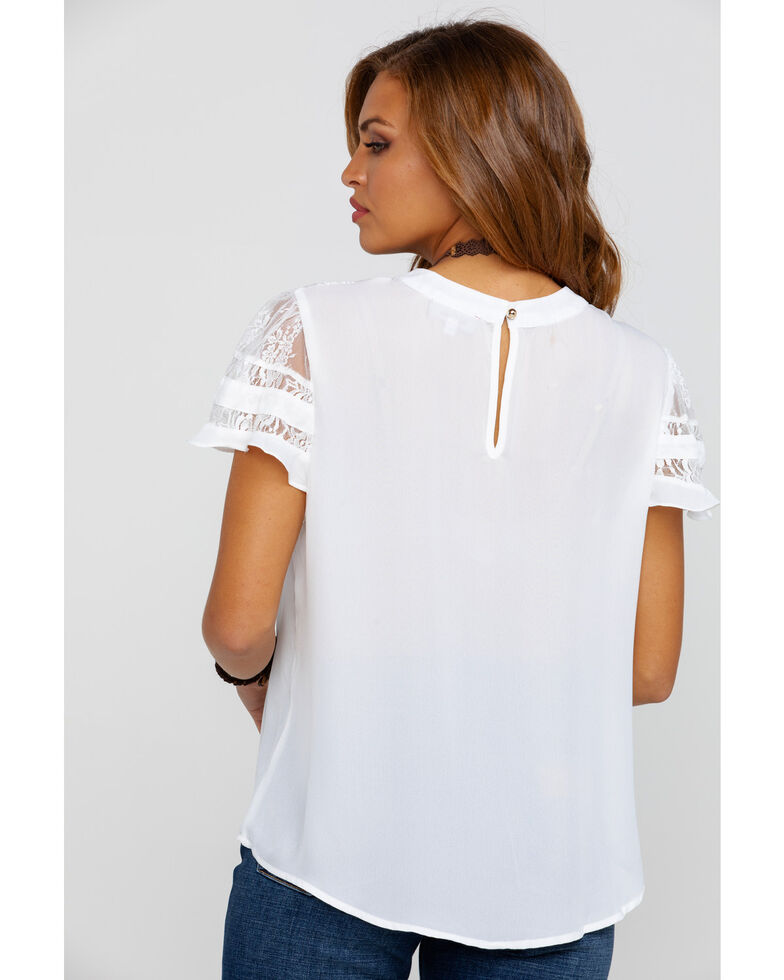 Red Label by Panhandle Women's Lace Ruffle Short Sleeve Top, White, hi-res