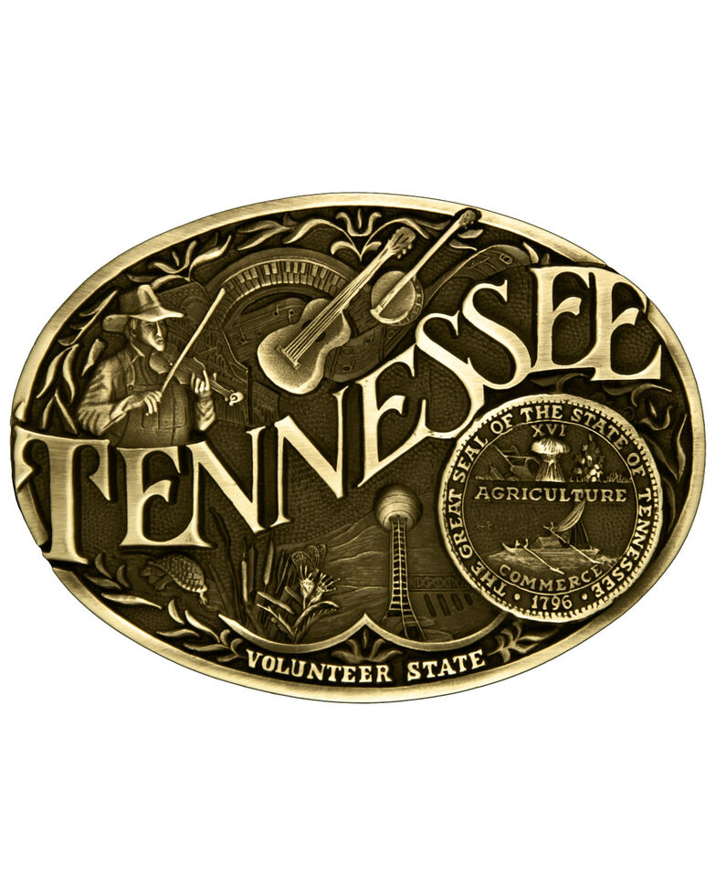Montana Silversmiths Tennessee State Belt Buckle, Gold, hi-res