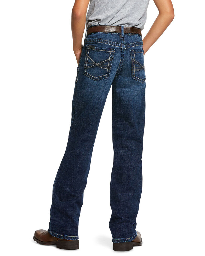 Ariat Boys' B4 Tourismo Robbie Dark Stretch Relaxed Bootcut Jeans , Blue, hi-res
