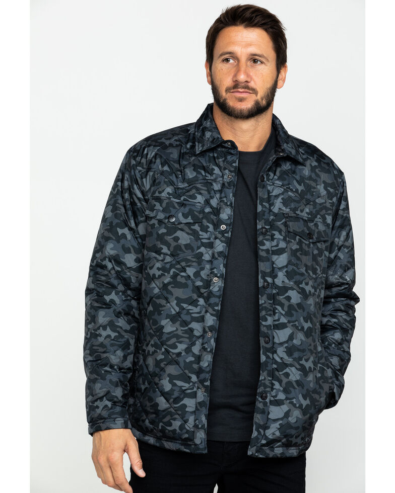 Moonshine Spirit Men's Camo Trooper Ripstop Quilted Shirt Jacket , Black, hi-res