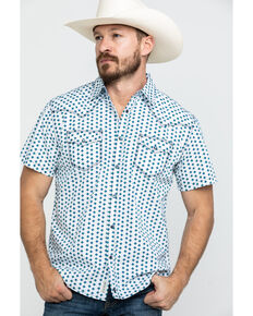 Moonshine Spirit Men's Electricity Geo Print Short Sleeve Western Shirt , White, hi-res