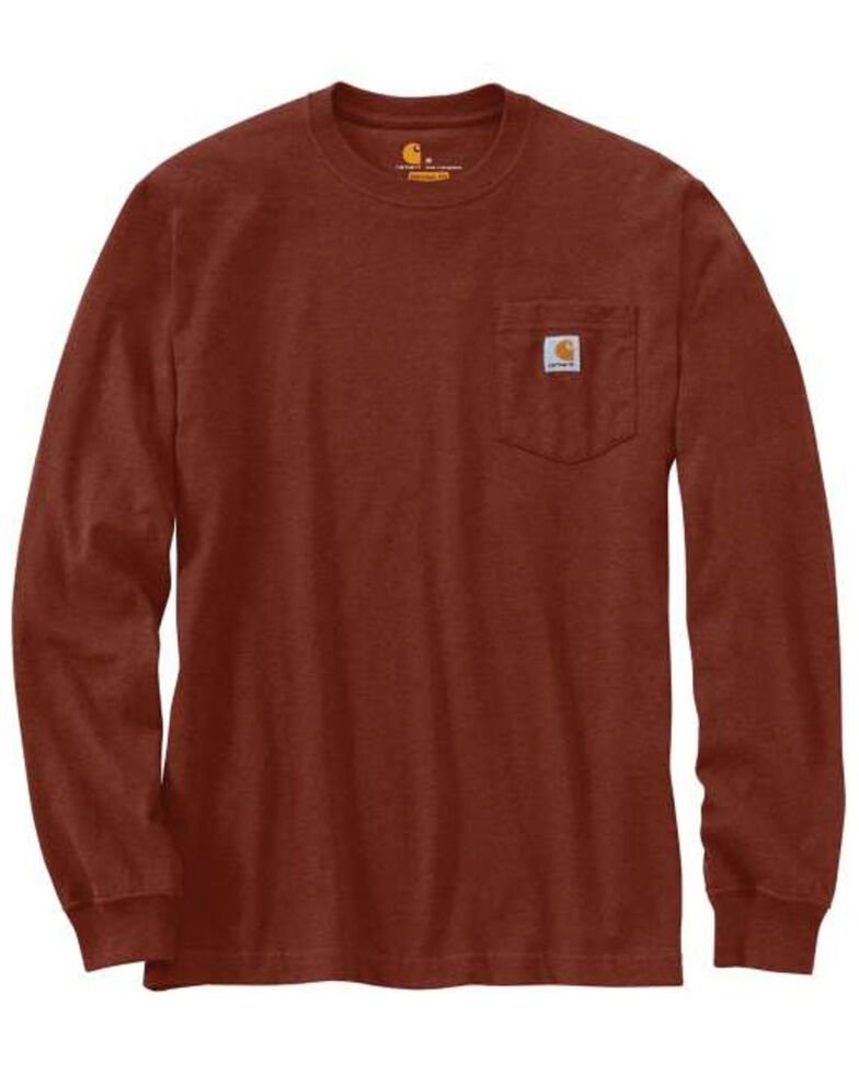 Carhartt Men's Iron Ore Solid Pocket Long Sleeve Work T-Shirt , Ore Heather, hi-res