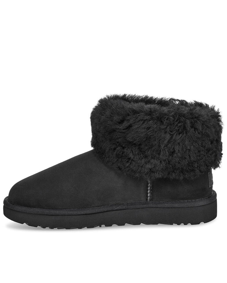 UGG Women's Clasic Mini Fluff Boots - Round Toe, Black, hi-res