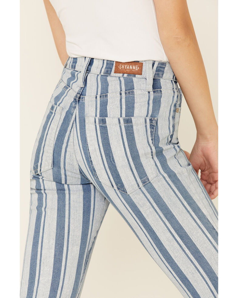 Shyanne Women's Blue Stripe Bootcut Jeans, Light Blue, hi-res