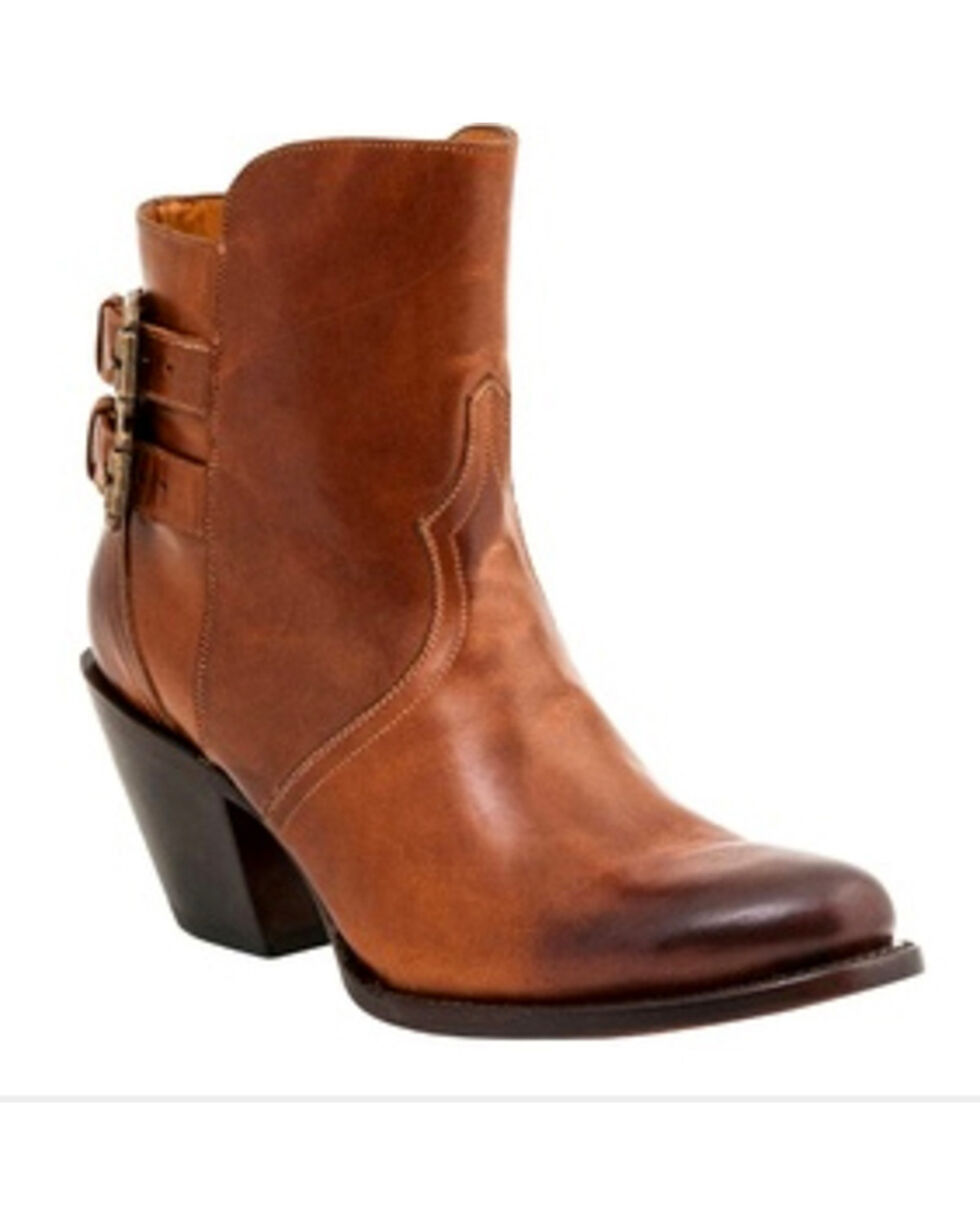 Lucchese Women's Handmade Catalina Western Booties - Round Toe, Cognac, hi-res