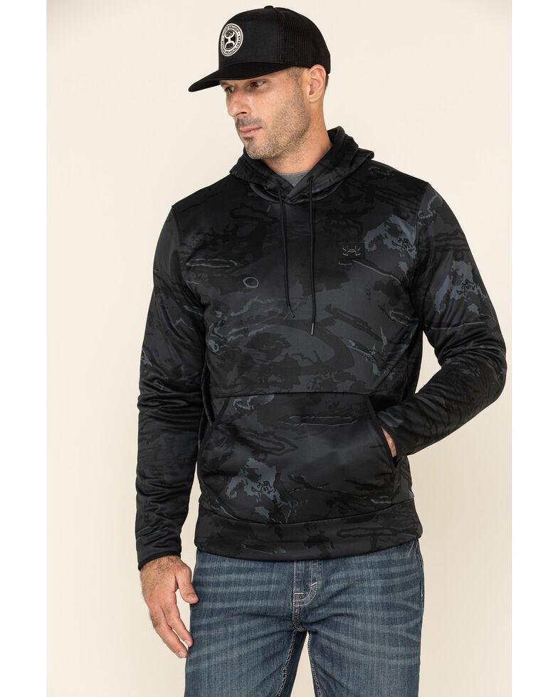 Under Armour Men's Black Forest Camo Hooded Work Sweatshirt , Black, hi-res