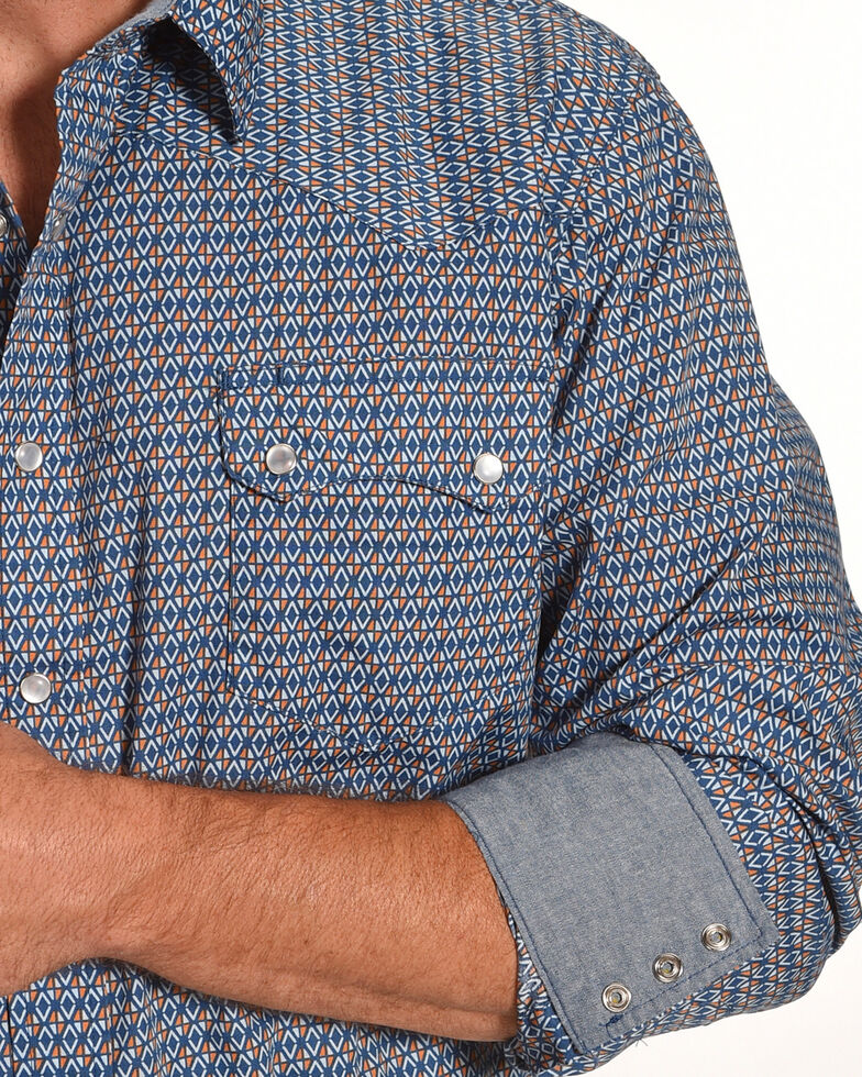 Roper Men's Blue Geo Print Shirt , Blue, hi-res
