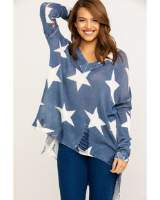 Show Me Your Mumu Women's Cliffside Star Gaze Sweater , Blue, hi-res