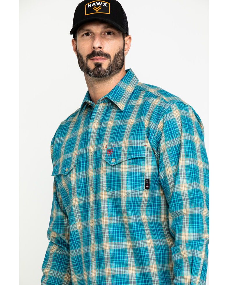 Ariat Men's FR Sanders Plaid Long Sleeve Work Shirt - Tall , Grey, hi-res